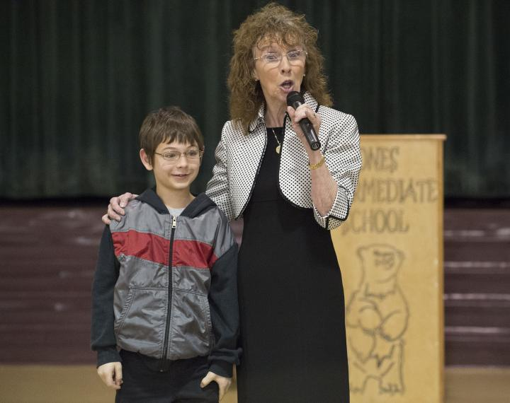 Jane Foley with Jones Intermediate student