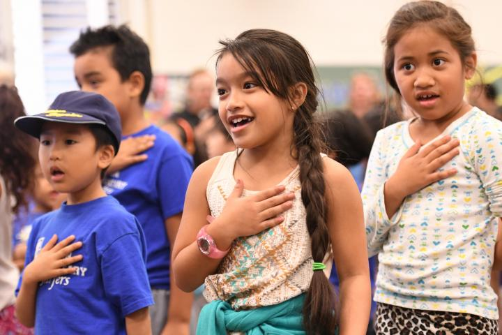 Jefferson Elementary students pledge of allegiance