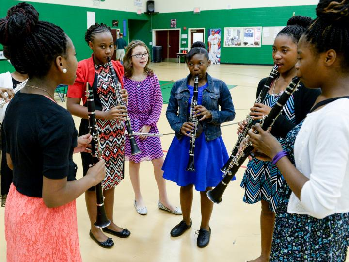 Melonee Ginn band prepares for assembly