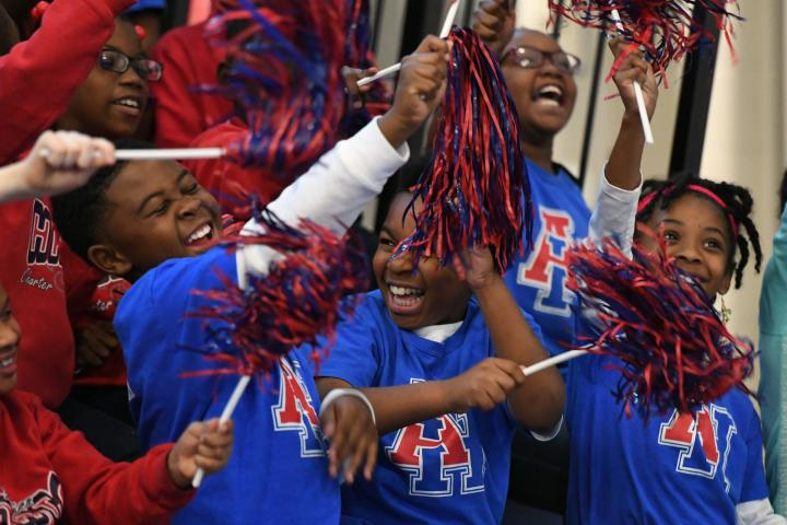 New Orleans 2017 excited students pompoms