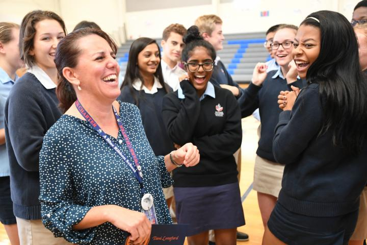 Newark Charter 2017 Tami Lunsford laughs with students