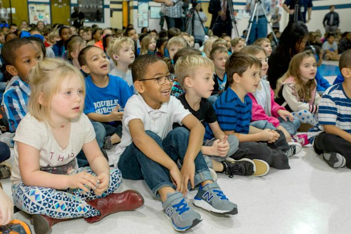 Double Churches students watch assembly