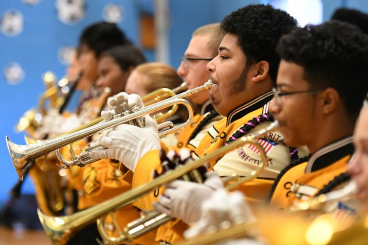 New Britain HS band at Smalley Academy