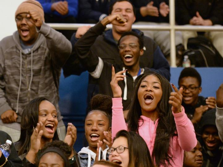 Randolph HS students cheer
