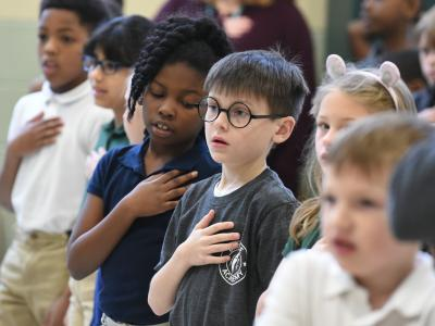 Battle Academy students pledge of allegiance