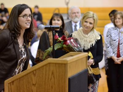 Erin Hodges congratulated by Educators