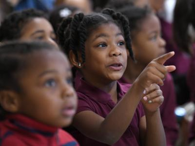 2018 Cambridge Banneker students watch assembly