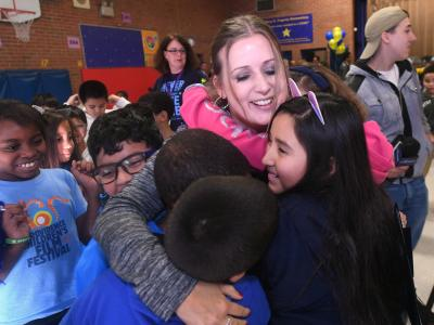 2018 Providence Michelle Johnson students hug
