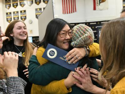 2019 Capistrano Candice Harrington student hugs 2