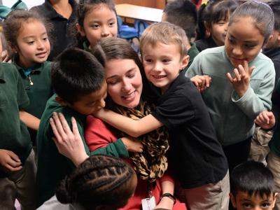 Amanda Raupe with students
