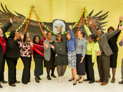 Amara Alexander veteran Milken Educators hands in air