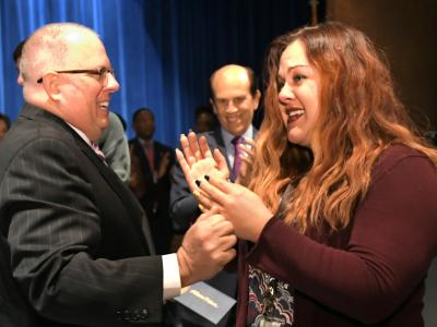 Annapolis 2017 Larry Hogan congratulates Allison Felton