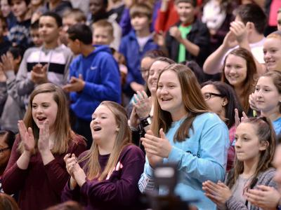 Bode Middle students applaud
