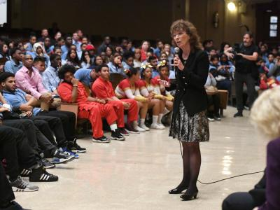 Bronx 2017 Jane Foley addresses Metrosound assembly