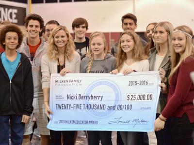 Derryberry and students with check