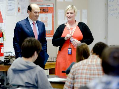 Elizabeth Galinis and Mike Milken in classroom