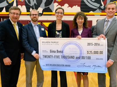 Gina Benz SD Milken Award with check