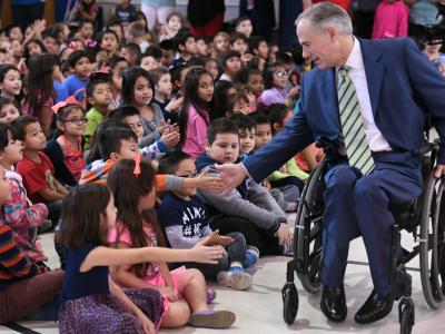 Governor Greg Abbott with Barrera Elementary students