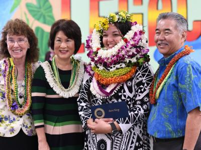 Honolulu 2018 Sara King Governor Ige leis