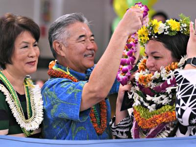 Honolulu 2018 Sara King Governor Ige one more lei