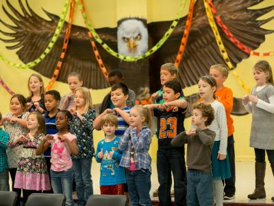 Horizon Elementary students perform song