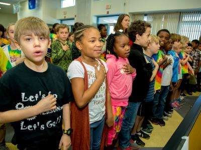 Jamerson students pledge of allegiance