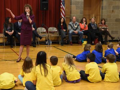 Jane Foley at Pioneer School assembly