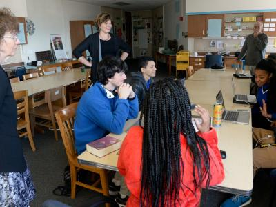 Jane Foley in classroom Shortridge HS