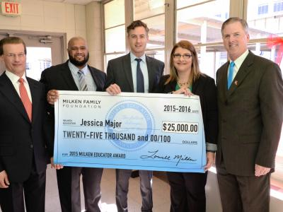 Jessica Major Milken Award check