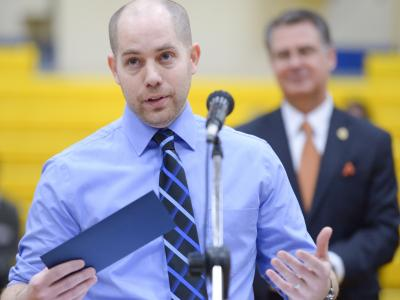 Kevin Winters accepts Milken Educator Award