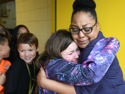 Lafayette 2017 Angela Boxie emotional student hug