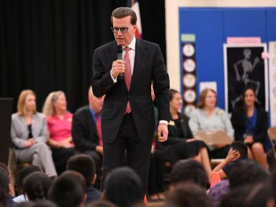 Lowell Milken addresses Elkhart Elementary