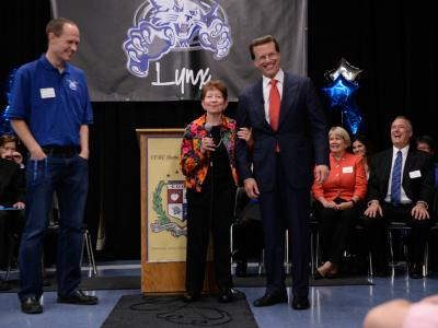 Lowell Milken with veteran Milken Educator