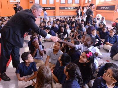 Mayor Jim Kenney with students