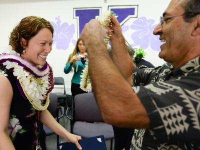 Michelle Kay receives a lei