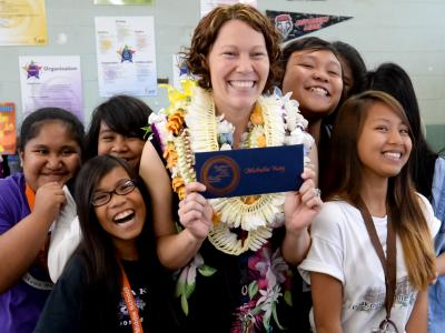 Michelle Kay with students