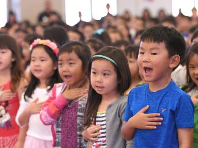Momilani Elementary students pledge of allegiance