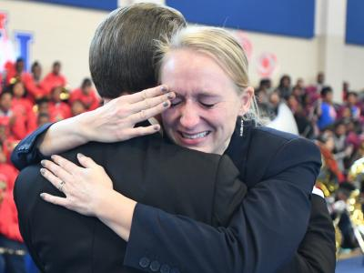 New Orleans 2017 Lowell Milken hugs Theresa Cross