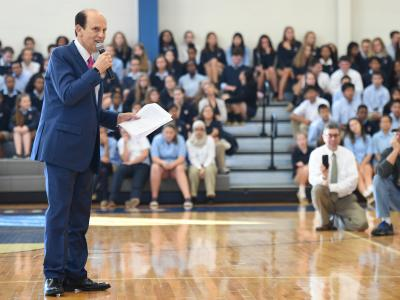 Newark Charter 2017 Mike Milken addresses assembly