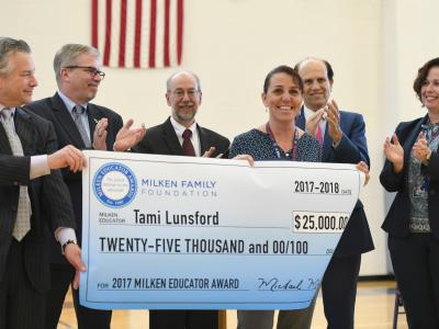 Newark Charter 2017 Tami Lunsford check with dignitaries