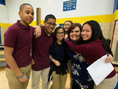Oxon Hill Middle student hugs