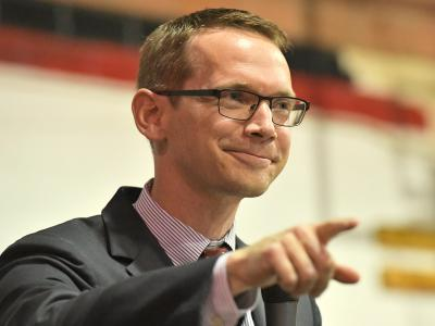 Slaton 2017 Mike Morath addresses assembly