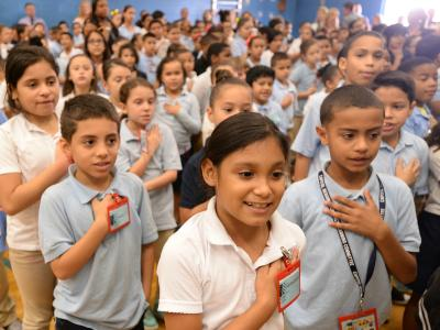 Smalley Academy students pledge of allegiance