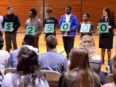 Students spell out award amount