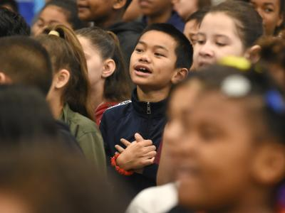 Suisun students wait for assembly