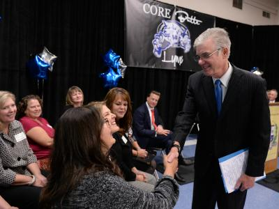 Superintendent Tom Torlakson greeting guests