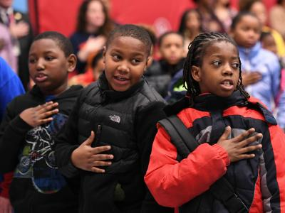 Weinland Park students pledge of allegiance