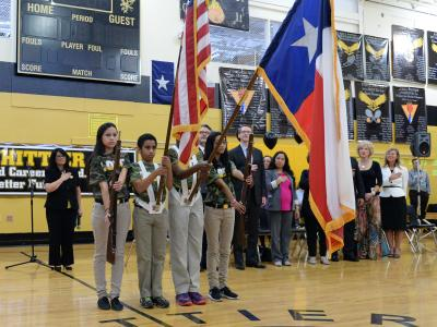 Whittier Middle color guard