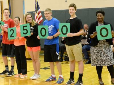 Beadle Middle School students hold numbers