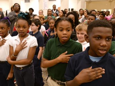Jeanerette students pledge of allegiance